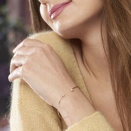 Bracelet Jonc Prisk Or Jaune Oxyde De Zirconium - Bracelets Coeur Femme | Histoire d'Or