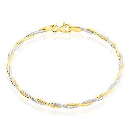 Bracelet Argent Bicolore Rhodie Torsade Diamantee - Bracelets fantaisie Femme   Histoire d'Or