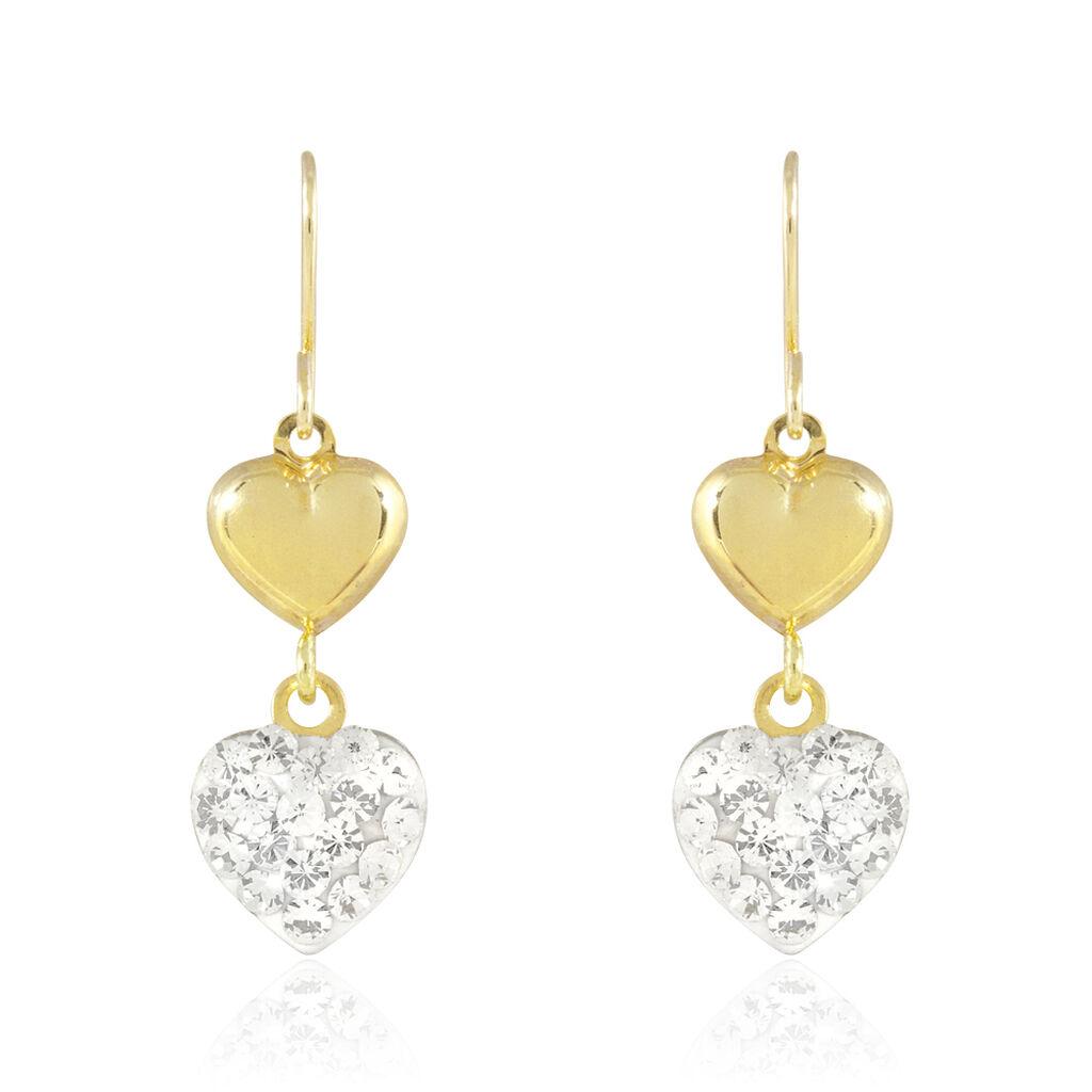 Boucles D'oreilles Puces Edmond Or Jaune Strass - Boucles d'Oreilles Coeur Femme   Histoire d'Or