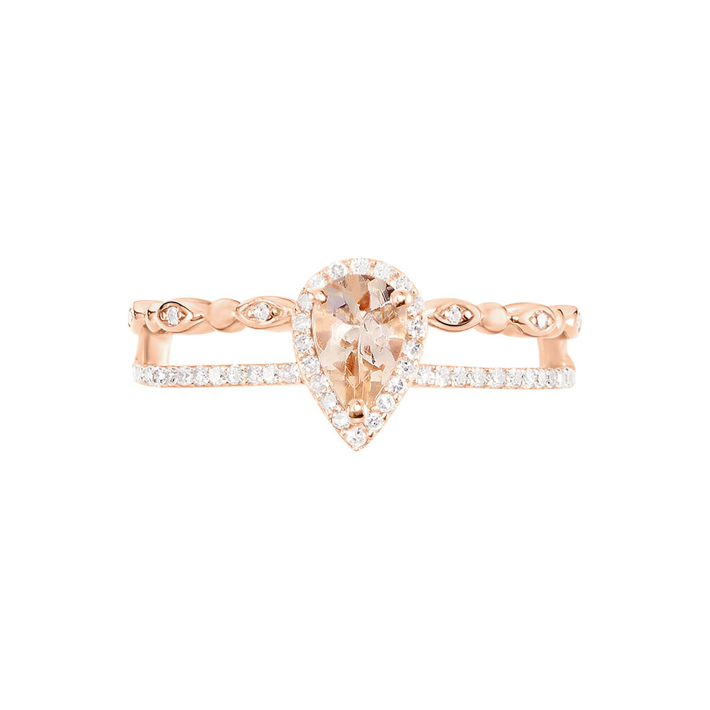 Bague Tomy Or Rose Morganite Et Diamant
