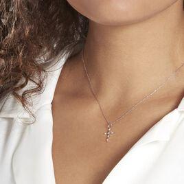 Pendentif Canice Croix Or Blanc Oxyde De Zirconium - Pendentifs Croix Femme   Histoire d'Or