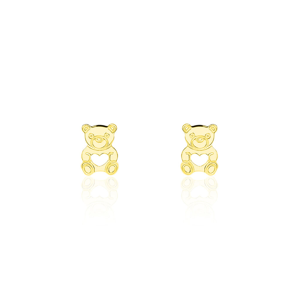 Boucles D'oreilles Puces Carmin Ourson Or Jaune - Boucles d'Oreilles Coeur Enfant   Histoire d'Or