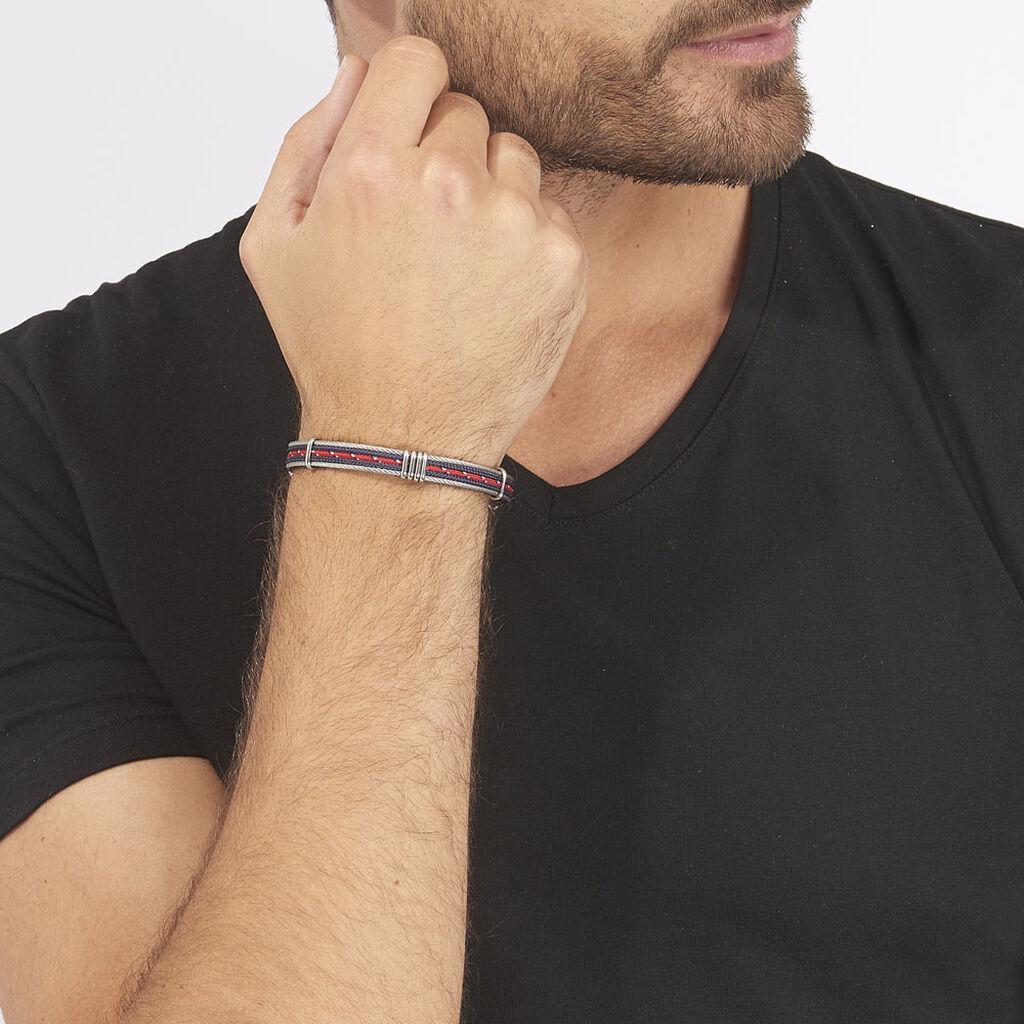 Bracelet Erick Acier Blanc - Bracelets cordon Homme   Histoire d'Or