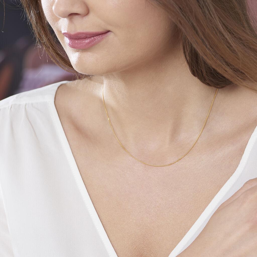 Chaîne Ixia Maille Gourmette Diamantee Or Jaune - Chaines Femme   Histoire d'Or