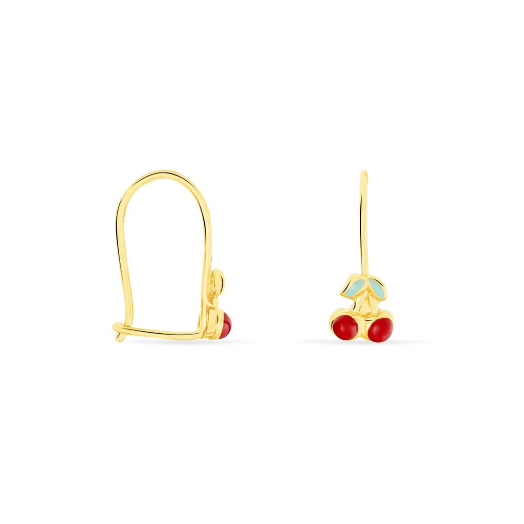 Boucles D'oreilles Pendantes Cherry Cerise Or Jaune - Boucles d'oreilles pendantes Enfant | Histoire d'Or