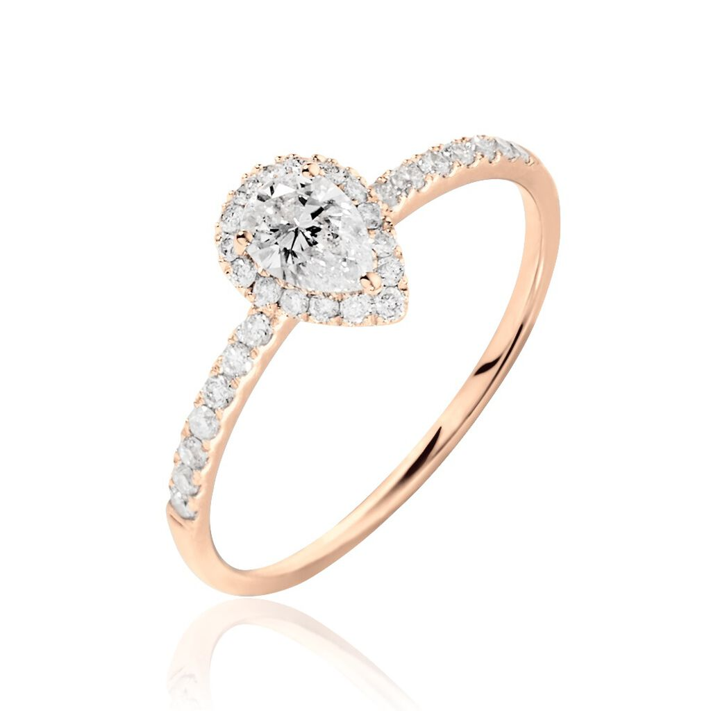 Bague Solitaire Tatiana Or Rose Diamant - Bagues avec pierre Femme   Histoire d'Or