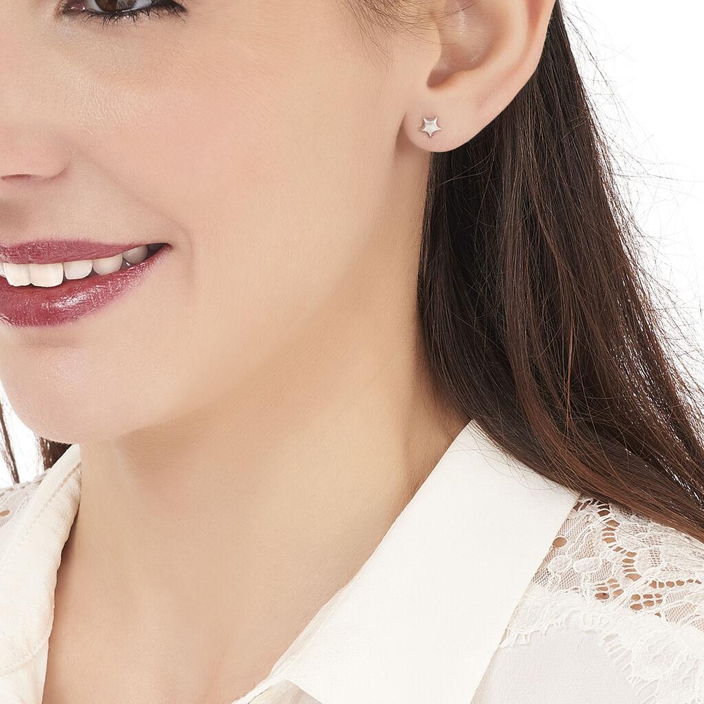 Boucles D'oreilles Puces Alphonsine Etoile Or Blanc - Boucles d'Oreilles Etoile Femme   Histoire d'Or
