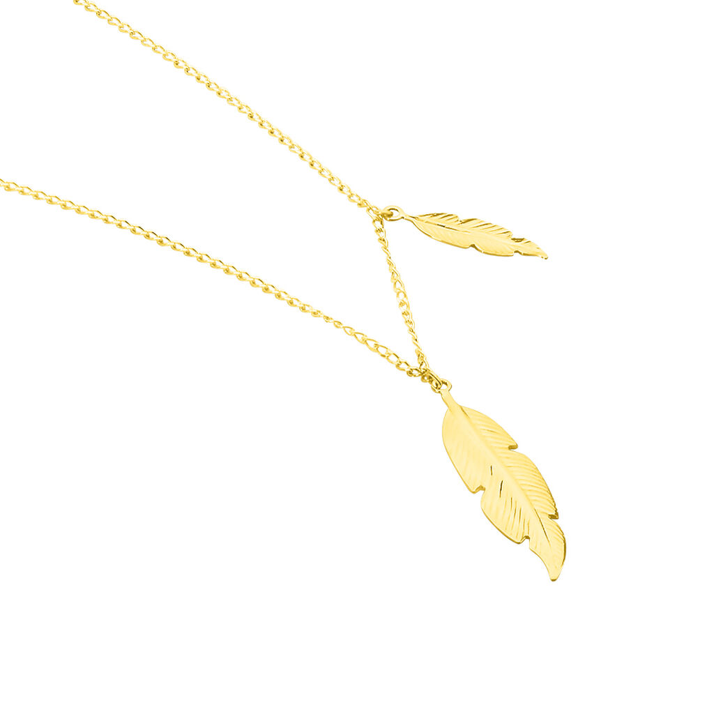 Collier Indian Nature Feuilles Or Jaune - Colliers Plume Femme   Histoire d'Or