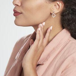 Boucles D'oreilles Pendantes Fabricius Argent Rhodié Oxydes - Boucles d'Oreilles Coeur Femme | Histoire d'Or