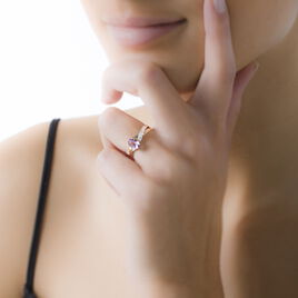 Bague Candice Or Rose Aigue Marine - Bagues avec pierre Femme | Histoire d'Or