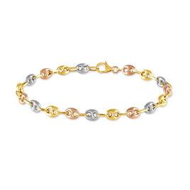 Bracelet Maille Dami Maille Grain De Cafe Or Tricolore - Bracelets chaîne Femme   Histoire d'Or