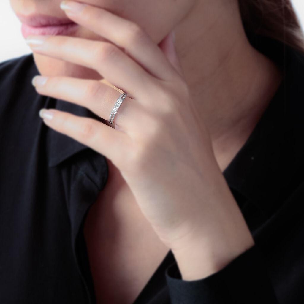 Bague Olivera Or Blanc Oxyde De Zirconium - Bagues avec pierre Femme | Histoire d'Or