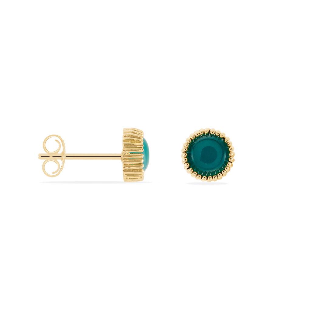 Boucles D'oreilles Puces Adonia Plaque Or Jaune Verre - Boucles d'oreilles fantaisie Femme | Histoire d'Or
