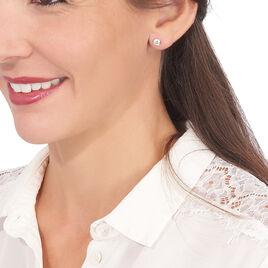 Boucles D'oreilles Puces Daria Serti Clos Or Rose Oxyde De Zirconium - Clous d'oreilles Femme | Histoire d'Or