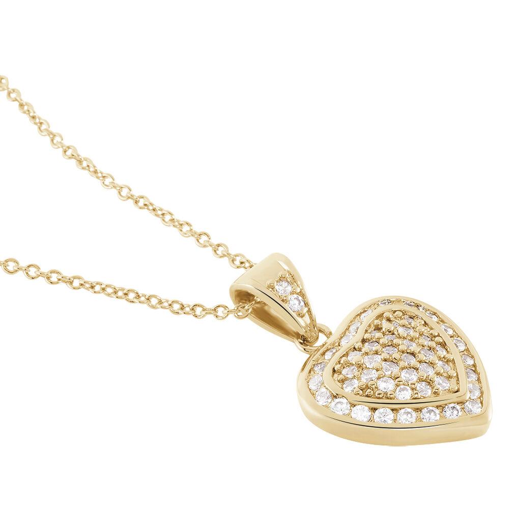 Collier Rhadijaae Plaque Or Jaune Oxyde De Zirconium - Colliers Coeur Femme   Histoire d'Or
