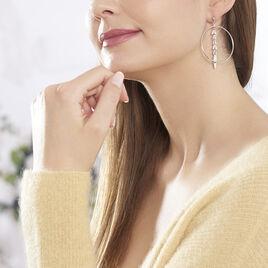 Boucles D'oreilles Pendantes Auxanne Argent Blanc - Boucles d'Oreilles Plume Femme | Histoire d'Or
