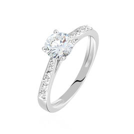 Bague Solitaire Laetitia Or Blanc Diamant Synthetique - Bagues avec pierre Femme | Histoire d'Or
