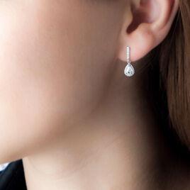 Boucles D'oreilles Argent Rhodie Elisa Pendante Oxyde - Boucles d'oreilles fantaisie Femme | Histoire d'Or