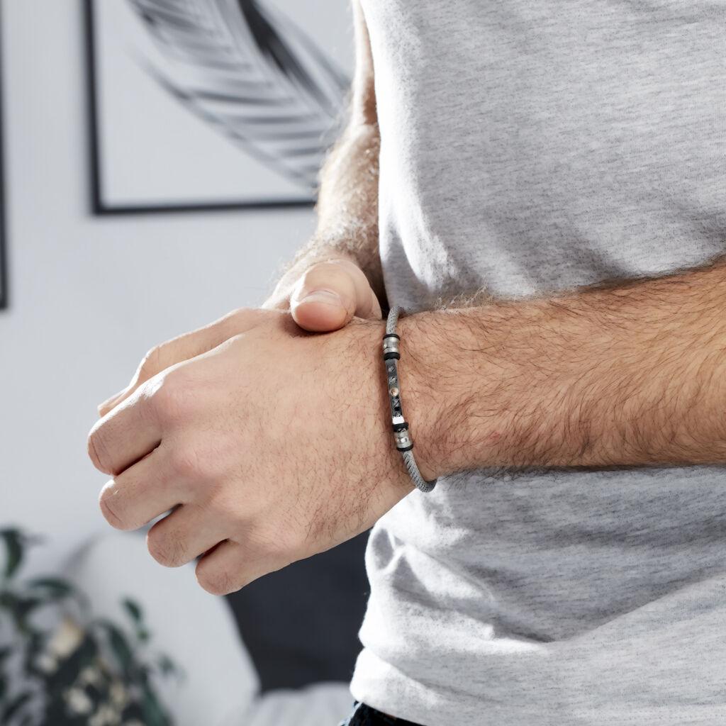 Bracelet Jourdan Chatel Acier Blanc - Bijoux Homme | Histoire d'Or
