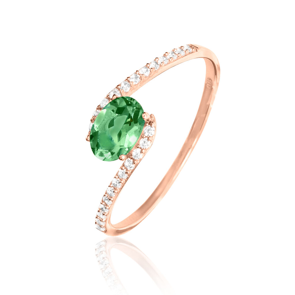 Bague Loriane Or Rose Emeraude Et Diamant