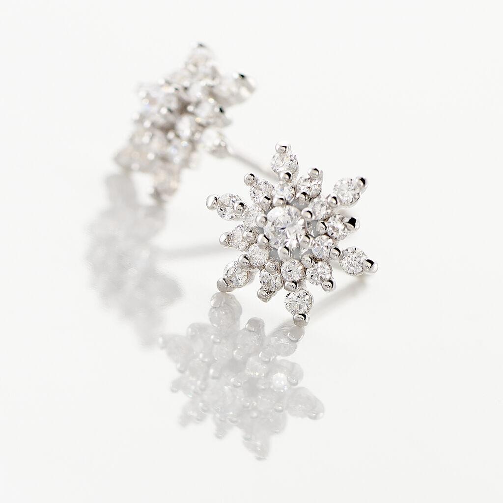 Boucles D'oreilles Puces Cyriac Argent Blanc Oxyde De Zirconium - Boucles d'oreilles fantaisie Femme   Histoire d'Or