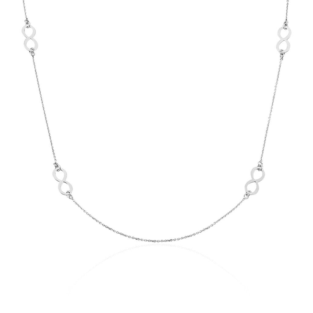 Collier Sautoir Infinity Argent Blanc - Colliers Infini Femme | Histoire d'Or