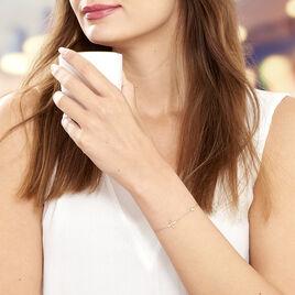 Bracelet Argent Rose Clarissa Fleur - Bracelets fantaisie Femme | Histoire d'Or