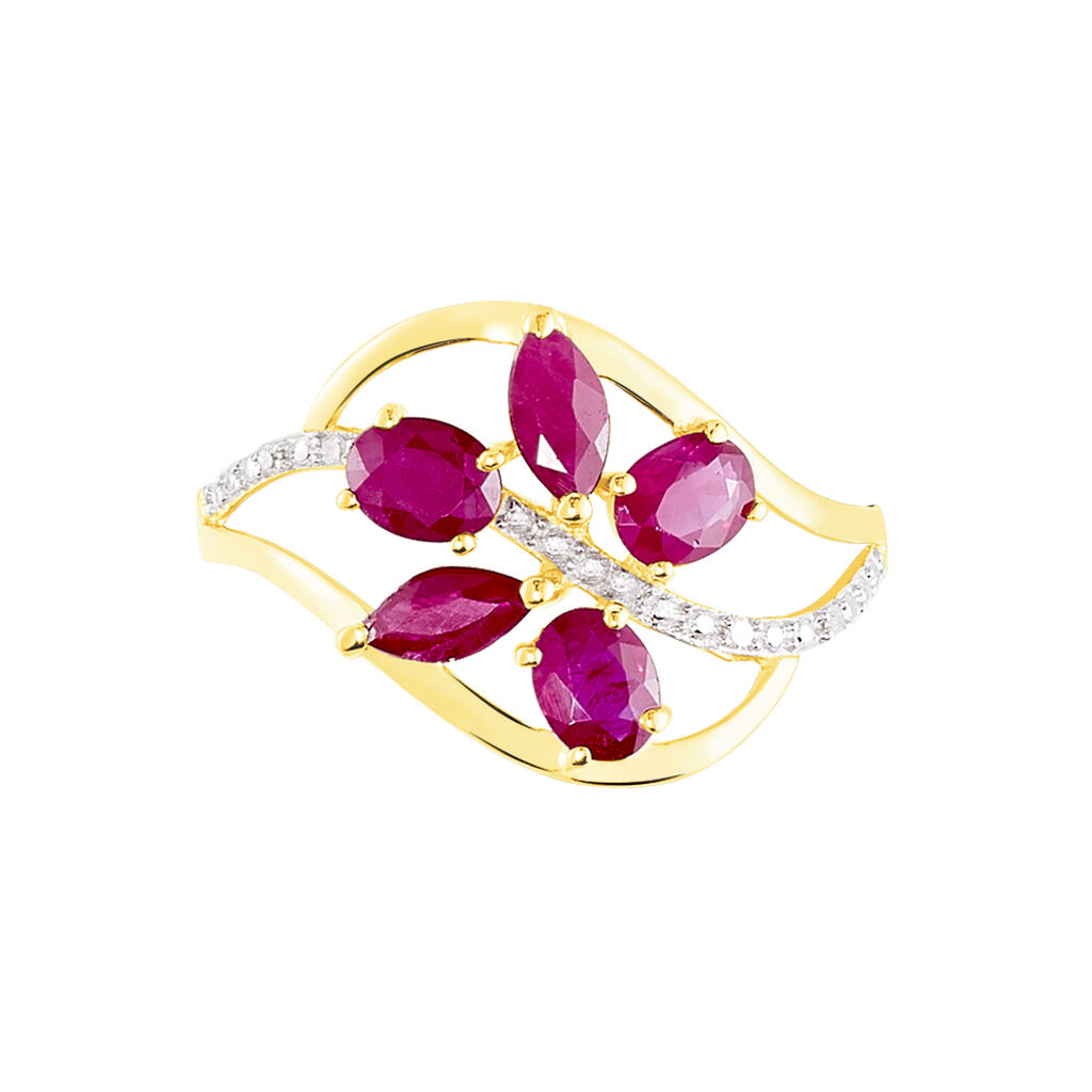 Bague Orchidee Or Bicolore Rubis Diamant - Bagues avec pierre Femme   Histoire d'Or