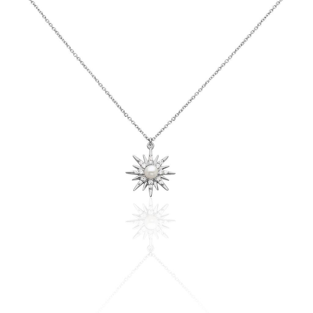 Collier Blanca Argent Blanc Perle De Culture - Colliers Etoile Femme   Histoire d'Or