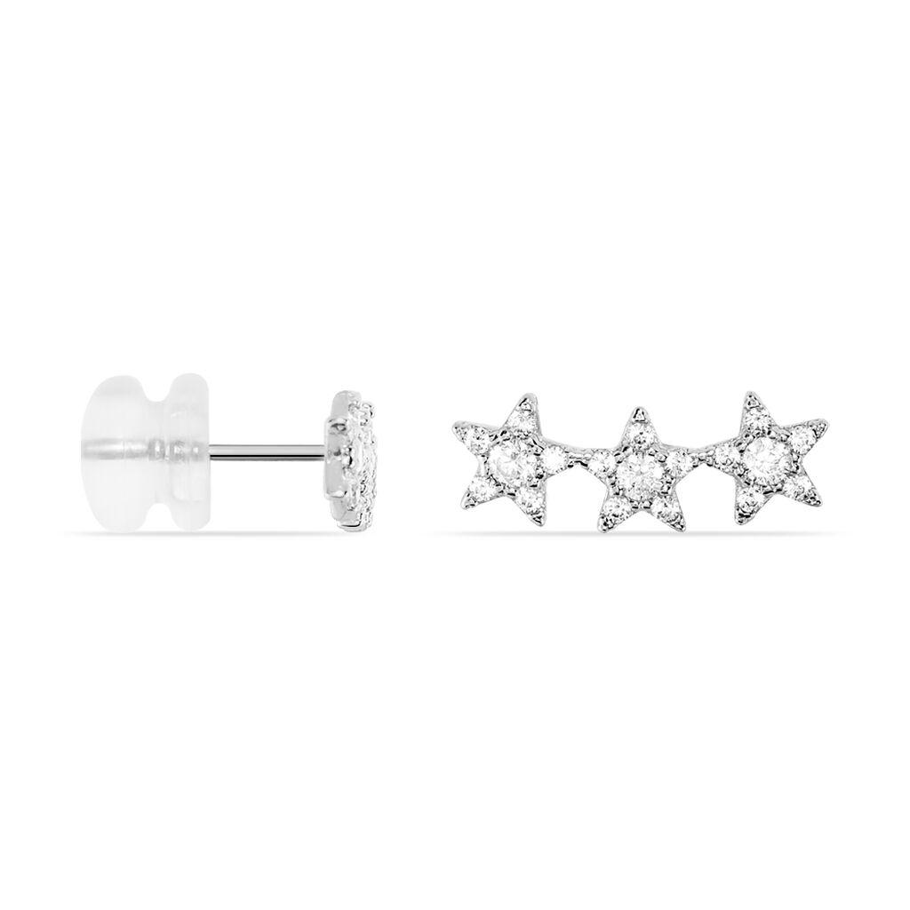 Boucles D'oreilles Puces Soeli Or Blanc Oxyde De Zirconium - Boucles d'Oreilles Etoile Femme | Histoire d'Or