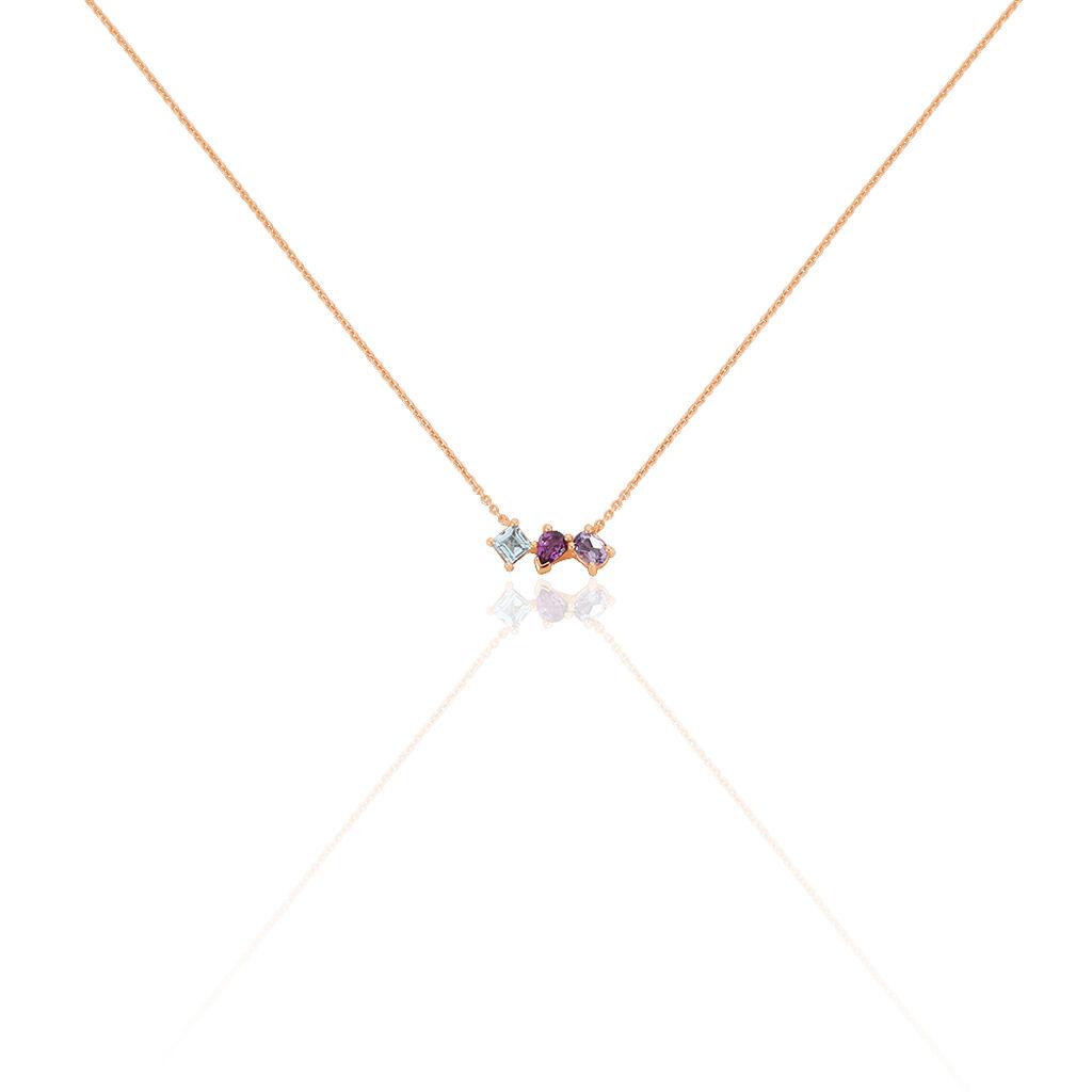 Collier Raika Or Rose Amethyste Et Rhodolite Et Topaze - Bijoux Femme | Histoire d'Or