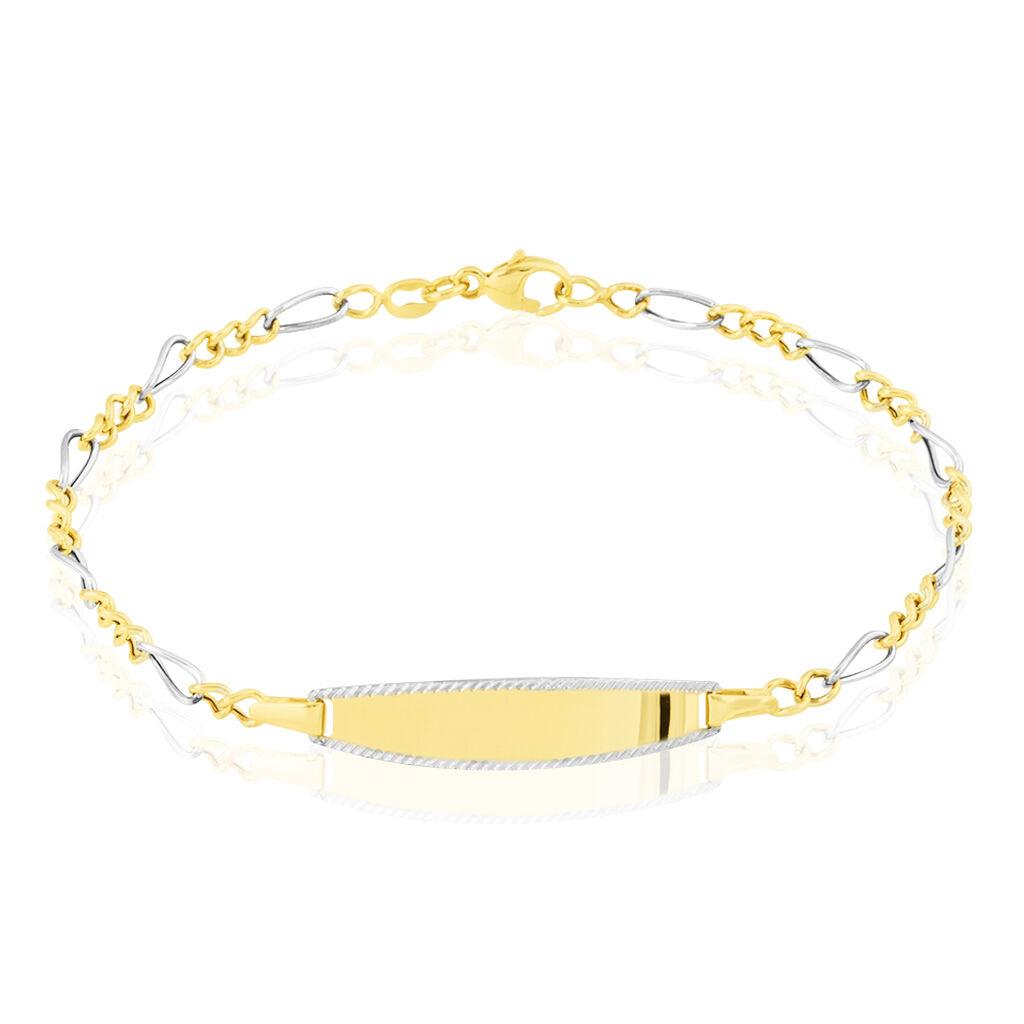 Bracelet Identité Bartolomee Maille Alternee 1/3 Or Bicolore - Bracelets Communion Enfant   Histoire d'Or