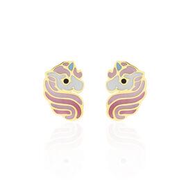 Boucles D'oreilles Puces Pivoina Or Jaune Oxyde De Zirconium - Clous d'oreilles Enfant   Histoire d'Or