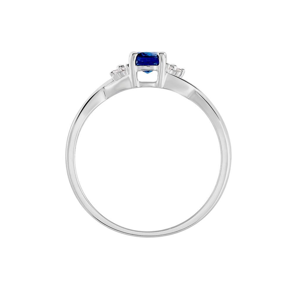 Bague Cassie Or Blanc Saphir Et Diamant - Bagues solitaires Femme   Histoire d'Or