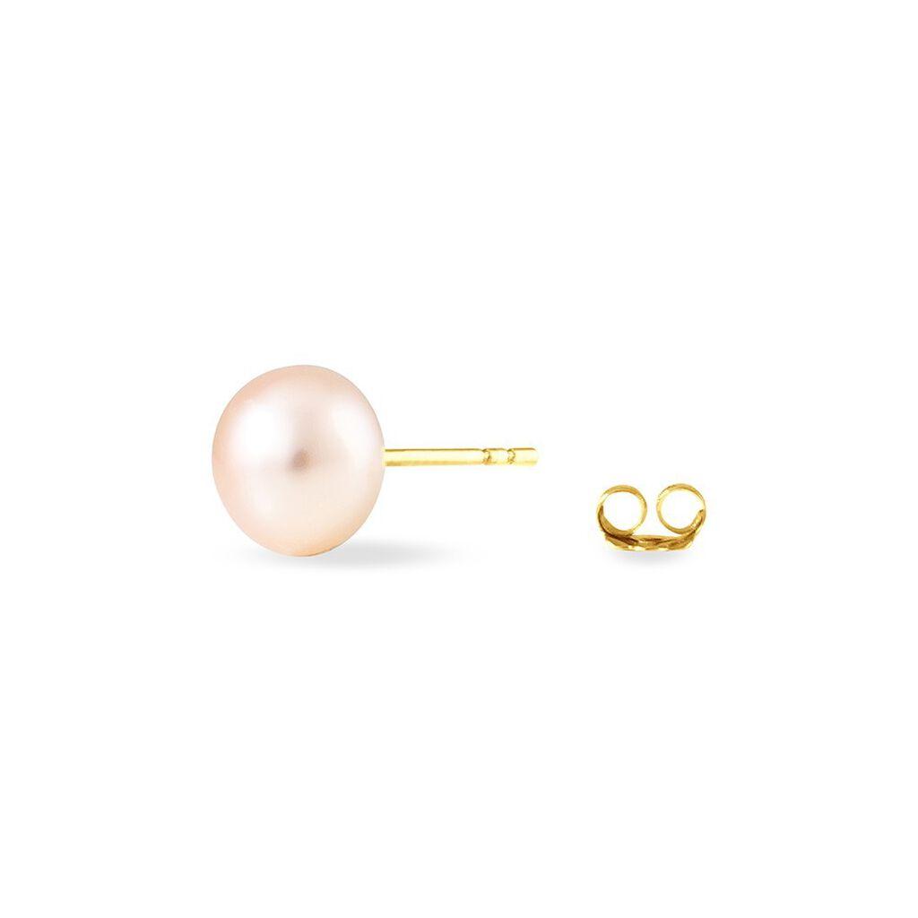 Boucles D'oreilles Puces Mignonae Or Jaune Perle De Culture - Clous d'oreilles Femme | Histoire d'Or