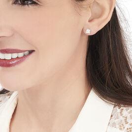 Boucles D'oreilles Puces Doreen Carre Or Blanc Oxyde De Zirconium - Clous d'oreilles Femme   Histoire d'Or