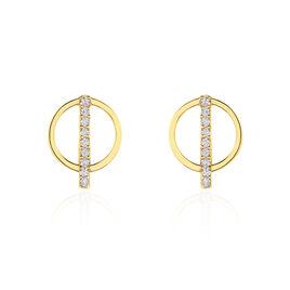 Boucles D'oreilles Pendantes Edmee Cercle Or Jaune Oxyde De Zirconium - Boucles d'Oreilles Coeur Femme   Histoire d'Or