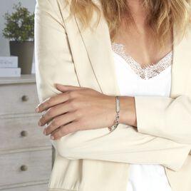 Bracelet Identité Caroline Maille Grain De Cafe Argent Blanc - Gourmettes Femme   Histoire d'Or