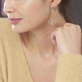 Boucles D'oreilles Pendantes Rosite Plaque Or Jaune Pierre De Synthese - Boucles d'oreilles pendantes Femme | Histoire d'Or