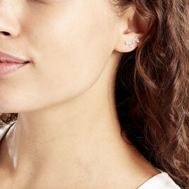 Bijoux D'oreilles Argent Rhodie Calina Forme Navette Oxyde - Boucles d'oreilles fantaisie Femme | Histoire d'Or