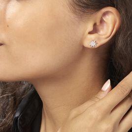 Boucles D'oreilles Puces Sarida Argent Blanc Oxyde De Zirconium - Boucles d'Oreilles Etoile Femme | Histoire d'Or