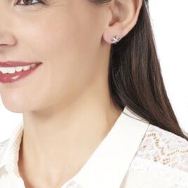 Boucles D'oreilles Puces Anabele Or Rose Topaze Et Oxyde De Zirconium - Clous d'oreilles Femme | Histoire d'Or
