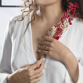 Bague Eva Or Rose Grenat Et Diamant - Bagues Coeur Femme   Histoire d'Or