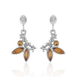 Boucles D'oreilles Pendantes Argent Blanc Ambre - Boucles d'Oreilles Etoile Femme | Histoire d'Or