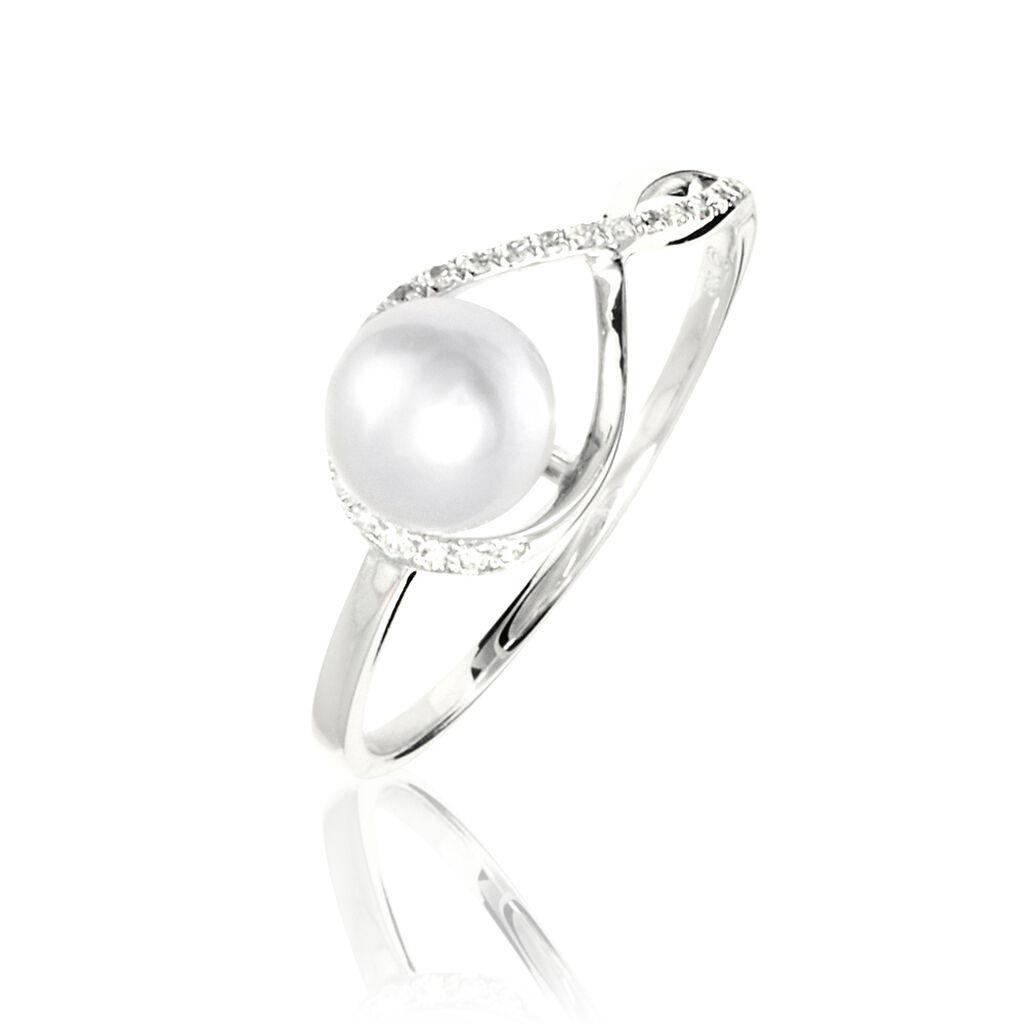 Bague Davy Or Blanc Perle De Culture Et Diamant - Bagues avec pierre Femme   Histoire d'Or