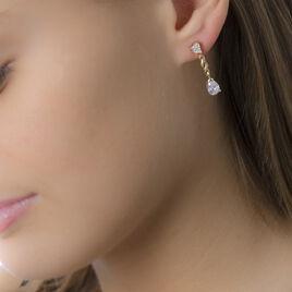 Boucles D'oreilles Pendantes Benita Plaque Or Jaune Oxyde De Zirconium - Boucles d'Oreilles Coeur Femme | Histoire d'Or
