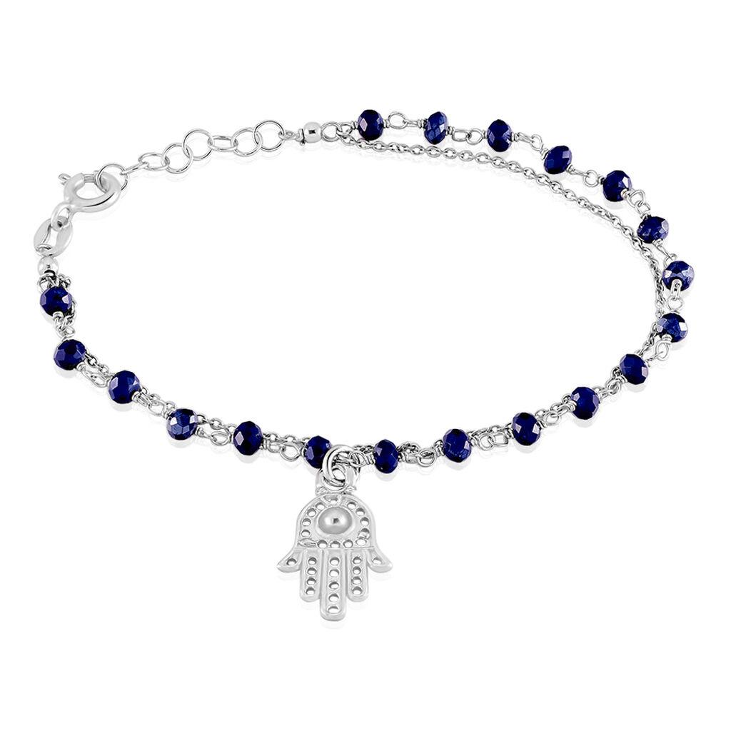 Bracelet Bedra Argent Blanc Cristal - Bracelets Main de Fatma Femme | Histoire d'Or