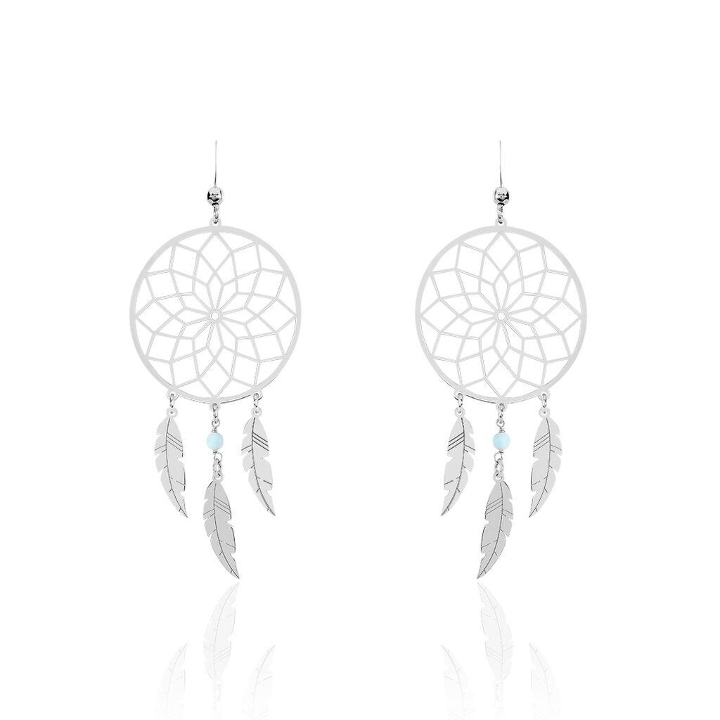 Boucles D'oreilles Pendantes Misalie Argent Blanc - Boucles d'Oreilles Attrape rêves Femme   Histoire d'Or