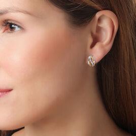 Boucles D'oreilles Pendantes Or Bicolore Diamant - Boucles d'oreilles pendantes Femme | Histoire d'Or