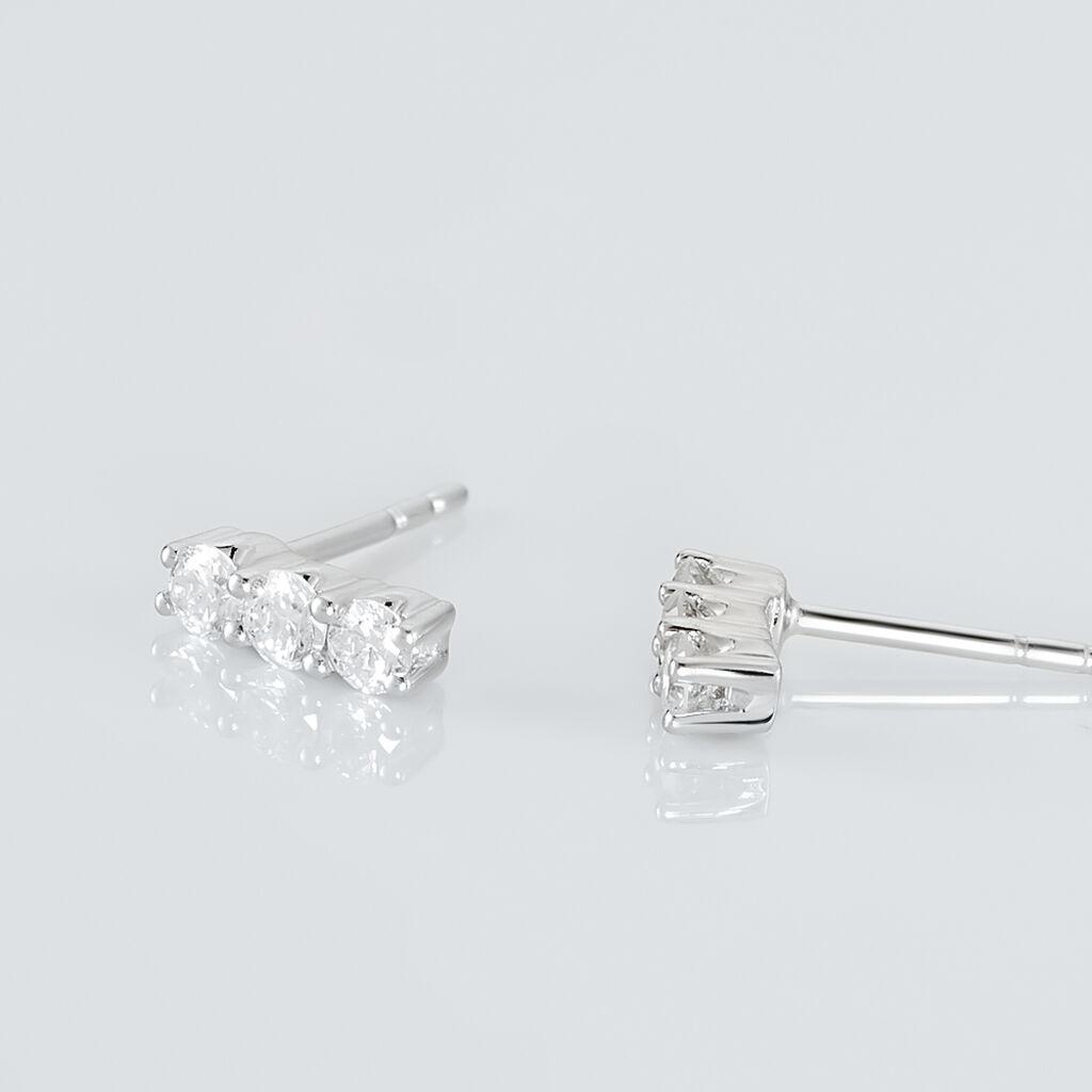 Boucles D'oreilles Puces Sabine Or Blanc Diamant - Clous d'oreilles Femme | Histoire d'Or